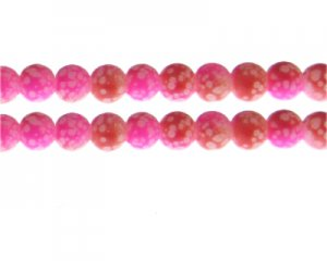 10mm Hot Pink/Red Spot Marble-Style Glass Bead, approx. 16 beads
