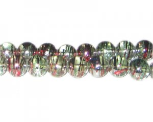10mm Candy Cane Abstract Glass Bead, approx. 22 beads