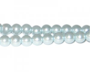10mm Silver Blue Glass Pearl Bead, approx. 22 beads