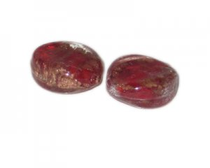 28 x 26mm Red Foil Oval Lampwork Glass Bead, 2 beads