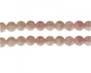 10mm Rhodonite Duo-Style Glass Bead, approx. 16 beads