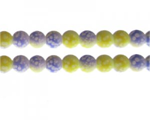 10mm Yellow/Lilac Spot Marble-Style Glass Bead, approx. 16 beads