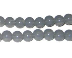 10mm Silver Jade-Style Glass Bead, approx. 21 beads