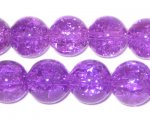 "12mm Dark Violet Crackle Glass Bead, 8"" string"