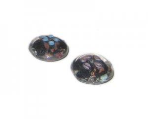 20mm Black Floral Handmade Lampwork Glass Bead, 5 beads
