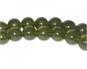 10mm Khaki Jade-Style Glass Bead, approx. 21 beads
