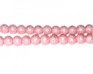 8mm Pink Rustic Glass Pearl Bead, approx. 56 beads