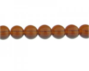 "12mm Brown Pressed Glass Bead, 13"" string"