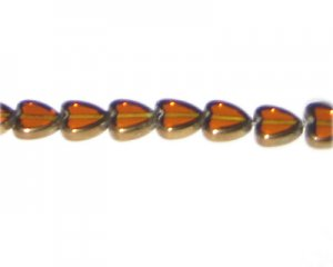 10mm Deep Gold Vintage-Style Heart Glass Bead, approx. 10 beads