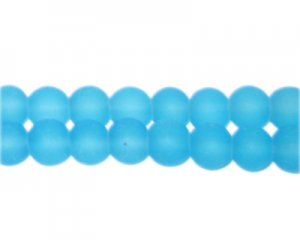 8mm Turquoise Sea/Beach-Style Glass Bead, approx. 53 beads
