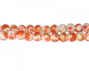 8mm Orange GoldLeaf-Style Glass Bead, approx. 54 beads