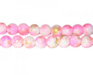 10mm Hot Pink GoldLeaf-Style Glass Bead, approx. 21 beads