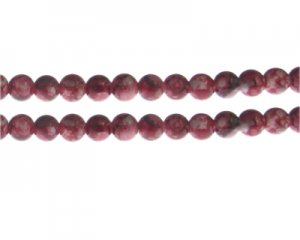 8mm Red Swirl Marble-Style Glass Bead, approx. 35 beads