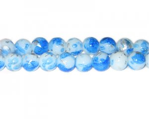 10mm Blue SilverLeaf-Style Glass Bead, approx. 21 beads