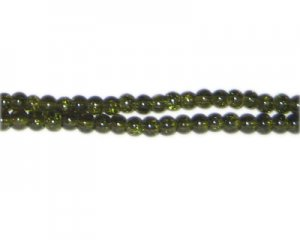 4mm Olive Green Crackle Glass Bead, approx. 105 beads