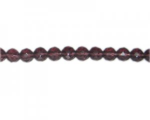 "8mm Plum Faceted Round Glass Bead, 12"" string"