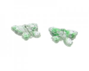 30 x 26mm Green Stripe Butterfly Pressed Glass Bead, 2 beads