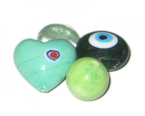 Approx. 1.5oz. Pale Green/Apple Green/Aqua Lampwork Mix4