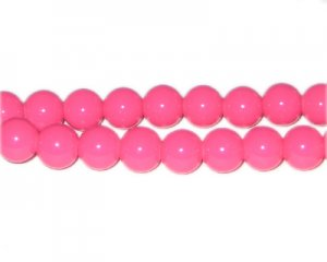 10mm Hot Pink Team and School Glass Bead, approx. 22 beads