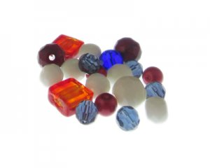 Approx. 1.5 - 2oz. July 4th Glass Bead Mix