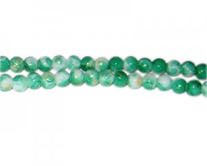 6mm Green GoldLeaf-Style Glass Bead, approx. 72 beads