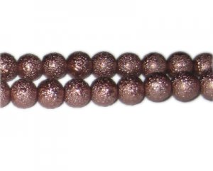 10mm Cocoa Rustic Glass Pearl Bead, approx. 23 beads