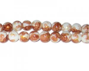 10mm Bronze GoldLeaf-Style Glass Bead, approx. 21 beads