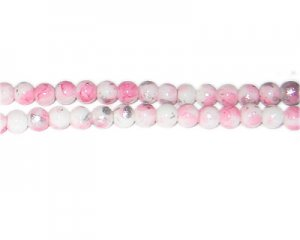 6mm Pink SilverLeaf-Style Glass Bead, approx. 72 beads