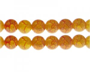 12mm Carnelian Duo-Style Glass Bead, approx. 14 beads