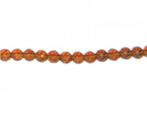 "6mm Golden Brown Faceted Glass Bead, 13"" string"