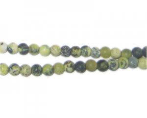 "4mm Yellow/Stone Dyed Agate Matte Beads, 15"" string"