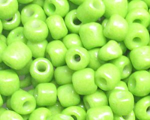 6/0 Apple Green Opaque Glass Seed Bead, 1oz. bag