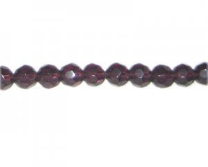 "8mm Plum Faceted Round Glass Bead, 13"" string"