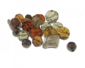 Approx. 1.5 - 2oz. Gray/Brown Glass Bead Mix
