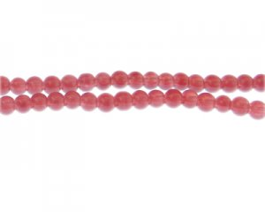 6mm Raspberry Jade-Style Glass Bead, approx. 77 beads