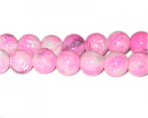 12mm Hot Pink Swirl Marble-Style Glass Bead, approx. 18 beads