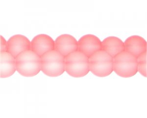 12mm Peachy Pink Sea/Beach-Style Glass Bead, approx. 18 beads