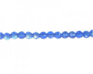 "6mm Dark Sky Blue Faceted Glass Round AB Finish Bead, 12"" string"