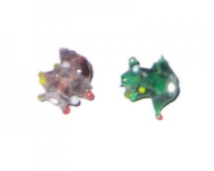 16mm Random Color Spiky Lampwork Glass Bead, 4 beads