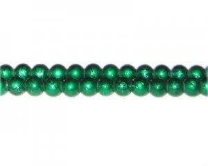 6mm Drizzled Dark Green Glass Bead, approx. 72 beads