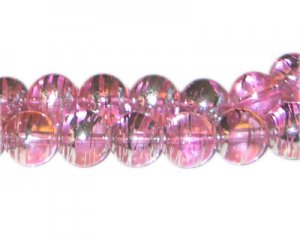 12mm Pink Perfect Abstract Glass Bead, approx. 18 beads