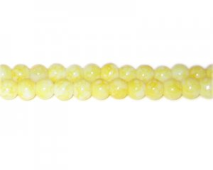 6mm Yellow Marble-Style Glass Bead, approx. 72 beads