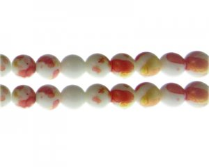 10mm Deep Orange GoldLeaf-Style Glass Bead, approx. 16 beads