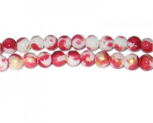 8mm Red GoldLeaf-Style Glass Bead, approx. 54 beads