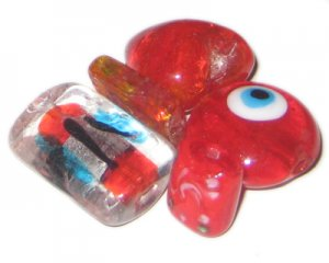 Lampwork Glass Bead Mix4, 1.5oz. Red / Maroon