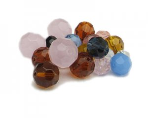 Approx. 1.5 - 2oz. Faceted Round Glass Bead Mix