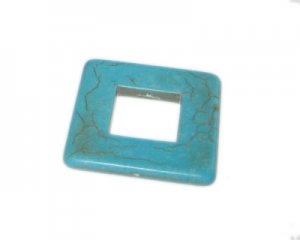 40mm Open Square Turquoise Pendant
