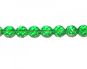 "10mm Grass Green Faceted Round Glass Bead, 12"" string"