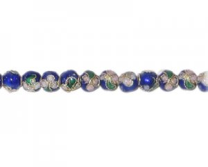 4mm Blue Round Cloisonne Bead, 10 beads