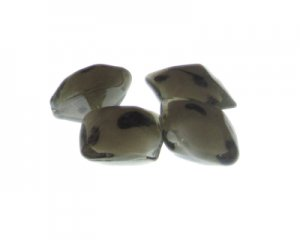 16mm Gray Spot Square Lampwork Glass Bead, 4 beads